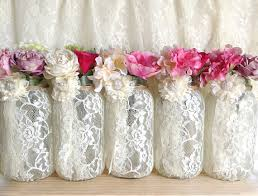 Decorative Jars And Vases Ivory Lace Covered Mason Jar Vases Wedding Decoration Engagement 33
