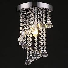 sottae modern mini style 1 light living room dining room bedroom flush mount ceiling light fixture mondern crystal chandelier chrome finish 8