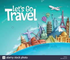 Tourism Banner Design Lets Go Travel Vector Banner Background Design With World