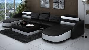 double chaise sectional sofa in black and white thick fury carpet ceramic floors modern82