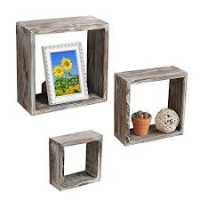 lovely decoration wood block shelves mygift set of 3 brown torched wood finish wall mounted square