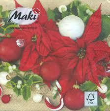 Servietten 33x33 Cm Poinsettias With Mistletoe