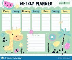 Kids Weekly Calendar Planner With Giraffe Stock Vector