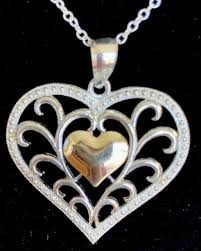 10k solid yellow gold sterling silver 925 filigree heart pendant necklace 18