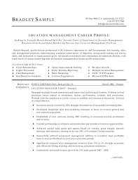 Location Manager Resume