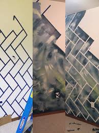 Wall Patterns With Tape Abstract Wall With Herringbone Bricks 1 Paint Base 2 Tape Off