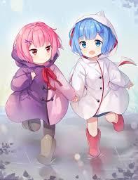 kawaii ram and rem in their raincoat during their childhood rezero