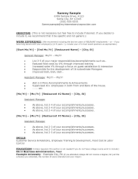Restaurant Resume Objectives 10 Accounting Internship Sample For