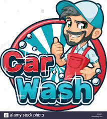 Character Logo Designer Car Wash Cartoon Logo Character Design Vector Illustration