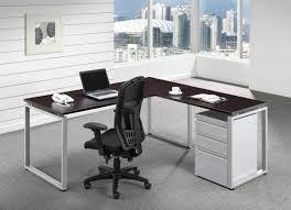 espresso l shaped desk with silver o legetal drawers