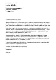 Lettera Di Presentazione Esempio Lettera Di Presentazione Consulente Finanziario