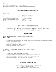 Resume Objective For A Bank Teller Resume Profile For Bank Teller