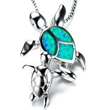 925 sterling silver mom and baby turtle blue fire opal necklace pendant