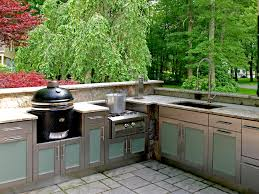 Steel Frame Outdoor Kitchen Surprising Outdoor Kitchen With Wooden Plank Frames Combined