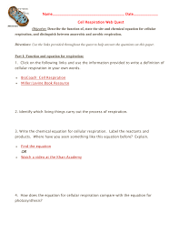 equations for photosynthesis and aerobic respiration compare