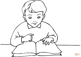 Small Picture School Boy Reading A Book Coloring Page Throughout Coloring Pages