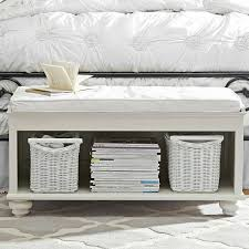white coated wooden end bed bench with white cushion and shelf for books  and box storage