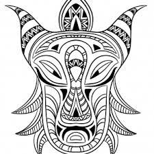 Small Picture Mask Coloring pages Coloring pages for adults JustColor