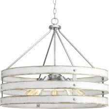 progress lighting gulliver 5 light galvanized drum pendant with weathered white wood accents