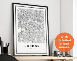 london map london city map london print map of london london map print london poster london wall art black and white city map decor on wall art prints etsy with london print etsy