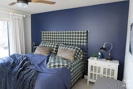 Accent wall in bedroom painted Navy Blue