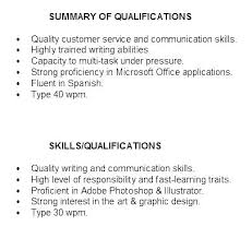 Qualifications For A Resumes Writing Skills For Resume Emelcotest Com