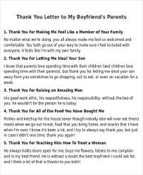 Thank You Letter to My Boyfriends Parents