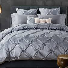 luxury grey pintuck pinch pleat duvet cover set