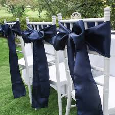 navy blue satin chair sashes europe chair cover sash for wedding party banquet dining decoration home