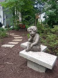 concrete garden bench. Garden Art Bench Concrete Chevron Inspired, Masonry, Diy, Gardening, How To