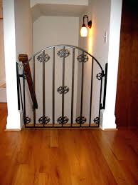 view larger brown baby gate wood metal for stairs