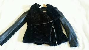 new look fur jacket with faux leather sleeves m 10