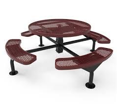 elite series nexus round picnic tables surface mounted