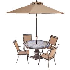Outdoor dining sets with umbrella Porch Furniture Fontana 5piece Aluminum Round Outdoor Dining Set With Tiletop Table Umbrella And Base The Home Depot Hanover Fontana 5piece Aluminum Round Outdoor Dining Set With Tile