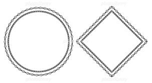 黒単色の装飾枠 円形とひし形 イラスト素材 5590508 フォトライブ