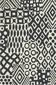 batik black and white rug