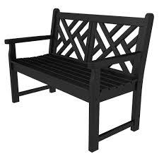 black patio bench