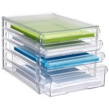 j burrows desktop file storage organiser 4 drawer clear