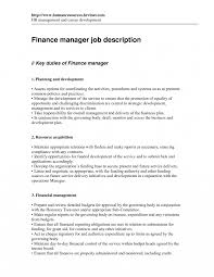 Financial Manager Job Description Financial Manager Job Description Template Finance Hospital Resume 1