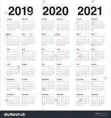 Year 2019 2020 2021 Calendar Vector Stok Vektör (Telifsiz) 1185347413