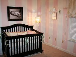 Dark Brown Wooden Baby Bedding With Yellow Shade Floor Lamp Also Stripes  Wallpaper Plus Dark