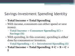 savings investment spending identity total income total spending with income consumers can either