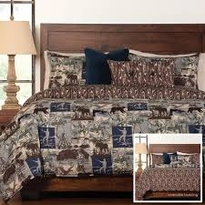 cozy design moose comforter sets bedding cabin place gone fishing set