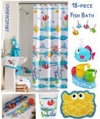 ing a quality bathroom towel kitchen ideas fish bathroom sets 18pc somethings fishy fish bath set shower curtain hooks rug