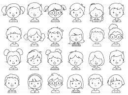 Kleurplaat Boek Kleine Meisjes En Jongens Gezicht Stockvectorkunst