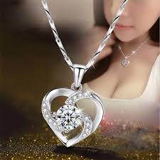 <b>TJP</b> Latest Female <b>925</b> Silver Necklace For Women Bride Wedding ...