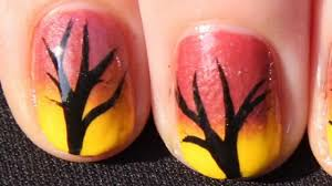 Quick and Easy Autumn Ombre Tree Nail Art Tutorial - Fall Nails ...