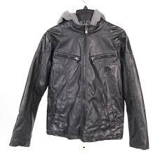 details about urban republic kids black faux leather hood jacket sz 5 6