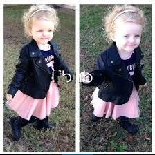 toddler pink leather jacket ems kids toddlers girls long sleeve black faux zip cool fashion ins