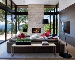Inspiration For A Large Modern Open Concept Beige Floor And Medium Tone  Wood Living Room Houzz